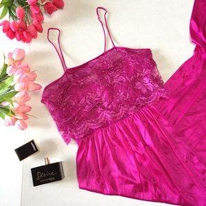 Tessies Vintage Lace Silk Pink Slip Dress sz small